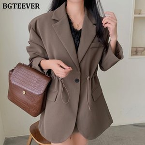 BGTEEVER Chic Autumn Winter Full Sleeve Drawstring Blazer for Women Notched Collar Loose Female Outwear Solid Jackets 2020
