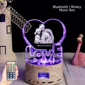 بلوتوث rgb ضوء الحب الكريستال مخصص شعار الليزر صورة الزجاج إطار الصورة الدورية مربع الموسيقى mp3 المتكلم هدية عيد الميلاد عيد ميلاد