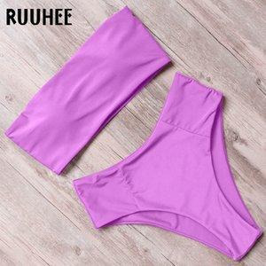 Ruuhee Solide Bademode Frauen 2020 Bikini-Satz trägerloser Verband-Badeanzug mit hohen Taille Weibliche Bademode Badeanzug