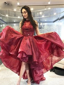 Hi-Lo Homecoming Dresses A-line Prom Dresses Sleeveless Burgundy Appliques Beaded Pleated Organza For Formal Evening Dresses P161
