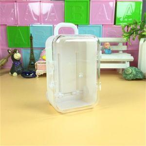 Forma de la maleta Caja de dulces Caja de plástico Barra de boda Favor de boda Cajas de equipaje Casos de la fiesta de cumpleaños Accesorios de suministro Creativo 0 88lq H1