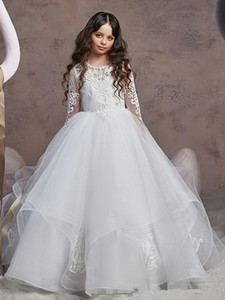 2021 Romantic Off the shoulder Cheap Flower Girls Dresses For Wedding Bride Illusion Long Lace Sleeves Tulle Champagne Designer Kids Dresses