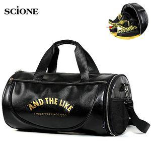 PU Leather Gym Bag Big Sports Bags Handbags For Fitness Men Women Training Shoulder Shoes Travel Sac De Sport Camping XA554WA Z1124