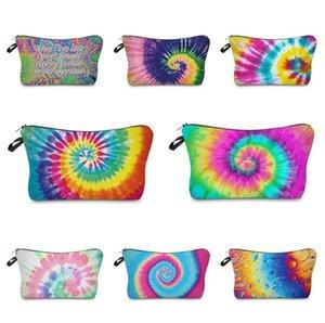 Zipper Tie-dye Makeup Bag Cosmetic Pouch Letters Print Pencil Case Unisex Handbag Travel Storage Tote Wallet Make Up Brush Wash Bag E120406