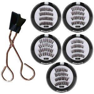 2 Pair 4 Magnetic False Eyelashes Natural With 3D 6D Magnets Magnetic Lashes Natural Mink Eyelashe Magnet Lash +Eyelash Curler