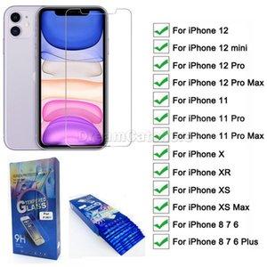 Protecteur d'écran transparent en verre trempé pour iPhone 11 12 Pro Max x XR XS MAX AVEC EMBALLAGE DE DÉTAIL 10 EN 1 FILM DE PROTECTION