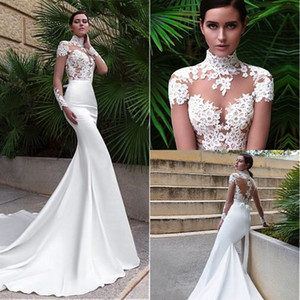 Goorgeous High Neck Mermaid Wedding Dresses With Lace Appliques Long Sleeves Sexy See Through Bodice Bridal Gowns