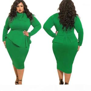 Solid Color Bow Neck Womens Long Sleeve Dress Ladies Women Designer Clothes Plus Size Womens Designer Dress Fashion