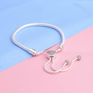 Top Quality Silver Moments Pave Heart Clasp Snake Chain Slider Bracelets For Women Fit 925 Sterling Silver Charms Diy Jewelry 598699C01