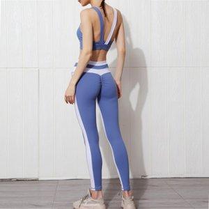 Gxqil Set di yoga unica GXQIL Vestiti da palestra 2020 Autunno inverno Abbigliamento sportivo Donna Lycra Sport Bra leggings Set Blue Red Patchwork727