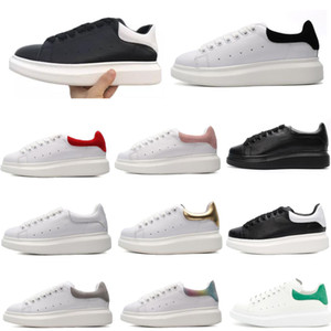 New Mens Womens Shoes Fashion Luxury White Leather Platform Shoes Flat Casual Shoes Lady Black Red Pink