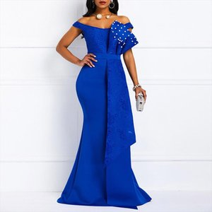 MD Bodycon Sexy Women Dress Elegant African Ladies Mermaid Beaded Lace Wedding Evening Party Maxi Dresses 2020 New Year Clothes