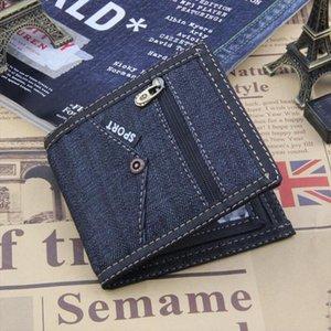 2018 Vintage Blue Jeans Canvas Men Wallet Coin Pocket Short Design Wallet Coin Purse Zipper Card Holder For Men Wallets