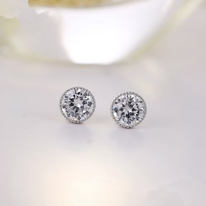 Natural CZ zircon crystal Moissanite earring Geometric round Diamond earrings 925 Sterling silver Female anniversary wedding party jewelry