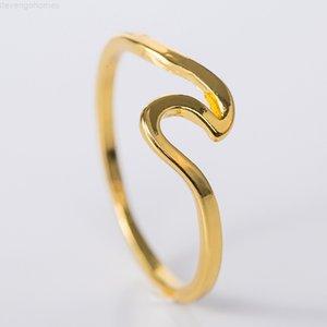 Factory77JQSEA Ocean Fashion Wave Простой Прибой Сплав Дизайн Кольцо Розовое Золото Серебряный Цвет Пальца Ювелирные Изделия Кольца Для Женщин Серфер Подарок