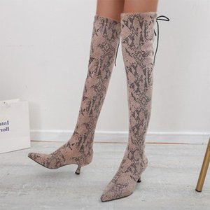 Women Over The Knee Boots Woman Fashion Snake Pattern High Boots New Female Thick Heels Ladies Pumps Women's Shoes