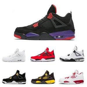 Novo Designer Popular 4 4S Mens Sapatos NRG Oreo Raptors Puro Dinheiro Fogo Vermelho Criado Homens Treinadores Sneakers Sapatilhas Sapatos de Esporte Tamanho 8-13