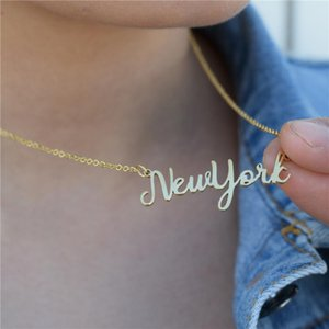 Stainless Steel Gold Color Chain New York State Name Pendant Necklaces for Women Bijoux Femme Christmas Gift Jewelry