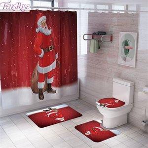 Fengrise Santa Claus Perde Kilim Dekorasyon Ev Banyo Noel Dekor için 2020 Navidad Süs Hediye Yeni Yıl 2021 1008