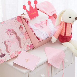 Year of the Rat Spring and Summer New Clothes Gift Box-Baby Girl Pink Newborn Baby One-Piece Romper