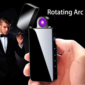 Technology USB Rechargeable Lighters Electronic Cigarette Lighter Flameless Touch Screen Switch Colorful Windproof Lighter DHL Free