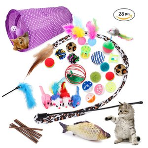 28 Pcs Toy, Tunnel Mint Feather Teasing Stick Fish Fluffy Mouse Ball and Bell Toy Cat Kitten Q1127