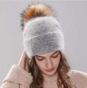 new women's hat winter beanie knitted hat Angola Rabbit fur Bonnet girl 's hat fall female cap with fur pom pom