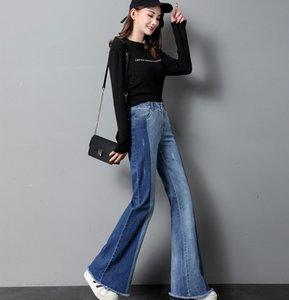 jeans de cintura alta denim bota de verão corte jeans mulheres de cintura alta bigode solto causal calçada pantral