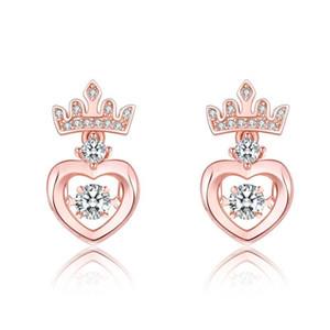 Crown Beating Heart Earrings Fashionable Love Heart Stud Earrings Jewelry
