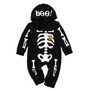 INS 2020 new Halloween baby romper+hats 2pcs set skull hooded baby rompers long sleeve newborn rompers Infant Jumpsuit baby clothes B2696