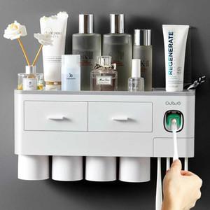 Gizili Adsorption magnétique Porte-brosse à dents Automatique Dentifrice Distributeur de dentifrice Plastique Montage murale Ross de la salle de bain Accessoires W1219