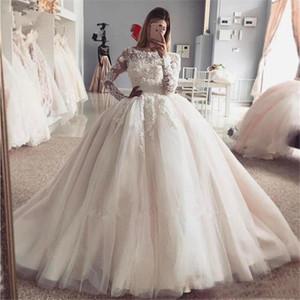Бальное платье принцессы с длинными рукавами кружева свадебные платья с аппликациями разведка поезда Beteau шеи тюль плюс размер свадебных платьев