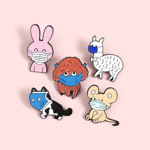 Custom Cat Dog Rabbit Rat Alpaca Animals wearing masks Enamel Pin Brooches Bag Lapel Pin Cartoon Badge Jewelry Gift for children