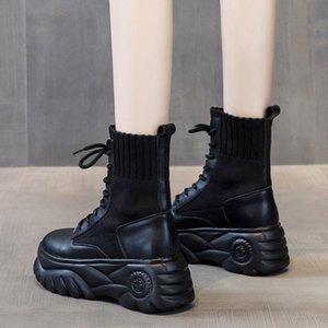 Сапоги женские 2021 Новые Осенние Обувь Прилив Короткие Ботинки Толстые Сообщенные Увеличенные Женские Повседневные Плюс Бархатный Одноместный