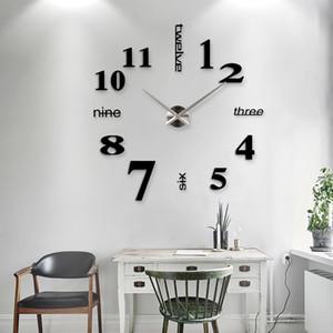 Nouvelle décoration de la maison Big 27/37 / 47inch Miroir Horloge murale Moderne Design 3D DIY Grand Mur d'horloge mural décoratif mur mur unique cadeau 201203