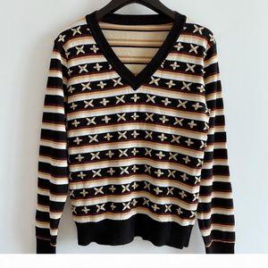 Milan Runway Sweater 2020 Long Sleeve V Neck Women's Sweaters High End Jacquard Pullover Women Designer Sweater 0704-9