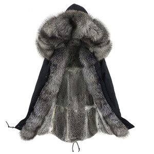LaVelache New Winter Real Fox Fur Coat Long Parka Men Real Rabbit Fur Liner Natural Fur Collar Hooded Thick Warm Male Jacket 201118