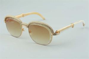 Best-seller di alta qualità Top-Quality Bianco Buffalo Taglio Occhiali da sole Occhiali da sole, diamanti di fascia alta Sopracciglio Telaio 1116728-A Dimensioni: 60-18-140mm