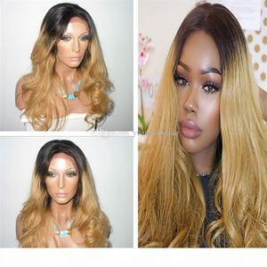 Fashion 1B 27 Honey Blonde Human Hair Loose Wavy Virgin Malaysian Ombre Lace Front Wig Free Shipping