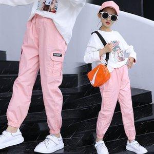 Eachin ребёнки Trend девочка-подросток Грузовой эластичный пояс Гарем Прохладный Multi-карман брюк Противомоскитный штаны