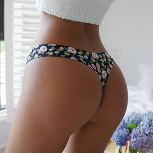 Sexy Women Thongs Flowers Print Seamless Panties Low-Waist Breathable Underwear G-String Intimates Lingerie For Female Girls