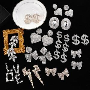 Lifefontier Shiny Rhinestone Drop Earrings Dollar Charm Bowknot Love Heart Pendant Dangle Earrings Women Wedding Jewelry xUFu#