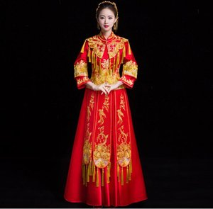 Red Traditional Show bride Embroidery cheongsam married suits chinese style wedding formal dress female Overseas Chinese Qipao