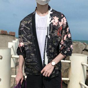 Vacation Style Breathable Thin Sun Protection Blouse Man Cardigan Kimono Japanese Retro Sleeve Chinese Style Dragon Shirt