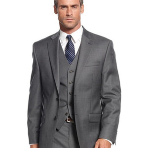 Grey Casual Hommes Mariage Tuxedos Formal Custom Custom Online Three Piece Automne extérieure Business Office Cosse Fête (veste + pantalon + gilet) 201105