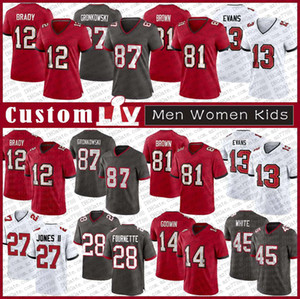 12 Tom Brady Custom Men Women Kids Football Jersey 87 Rob Gronkowski 81 Antonio Brown 13 Mike Evans 14 Крис Годвин 27 Рональд Джонс 45 белый