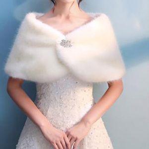 2021 Bridal Winter Warm Cape Fur Shawl Wedding Outerwear Bolero Wrap Cape Stole Women Jacket Coat Shrug for Party Dresses BD014