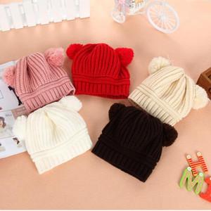 1-2 лет дети Pom Pom Pom Beaies зима вязаная шляпа теплые шерстяные шапки череп шапочки двойной меховой мяч детей вязание на открытом воздухе