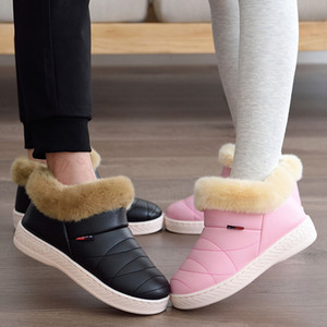 Women Cotton Boots Waterproof Winter Warm Fur Ankle Couple Thick Soled Shoes Men Ladies Flats Botas Mujer Zapatos 201104