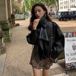 Nerazzurri 봄 검은 자켓 2020 대형 PU 새로운 패션 여성 재킷 플러스 사이즈 인조 가죽 코트 6xl